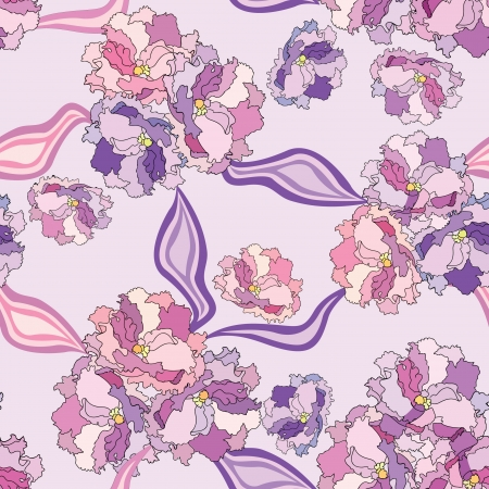 lilac background: Flower bouquets with ribbons seamless background  Floral lilac repeating pattern