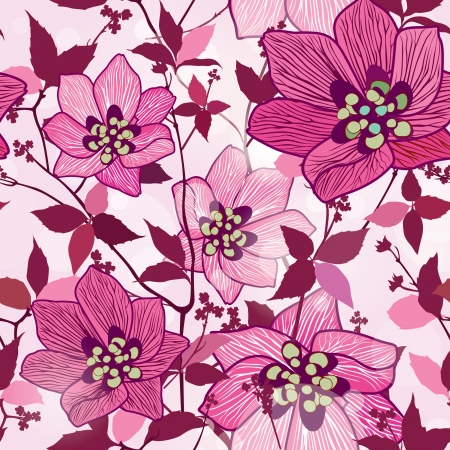 Flowers seamless background  Floral seamless texture with flowers  Graphic