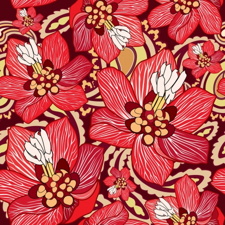 wrapper: Flowers seamless background  Floral seamless texture with flowers  Vector Graphic