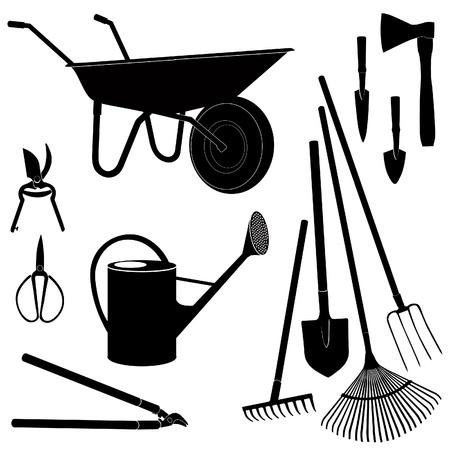 carretilla: Herramientas de jardinería aislados en fondo blanco Equipo de jardín silueta conjunto