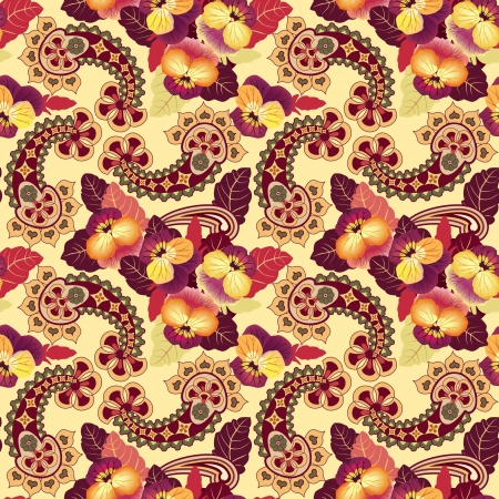 Abstract floral seamless pattern  Ornate asian lightning ornament  Flower background  Vector
