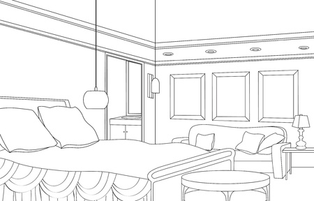 settee: Editable  illustration of an outline sketch of a interior  Graphical hand drawing bedroom interior  Cabinet