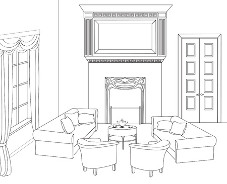 chimney corner: Drawing-room Ilustraci�n editable de un croquis esbozo de un dibujo interior interior mano gr�fica