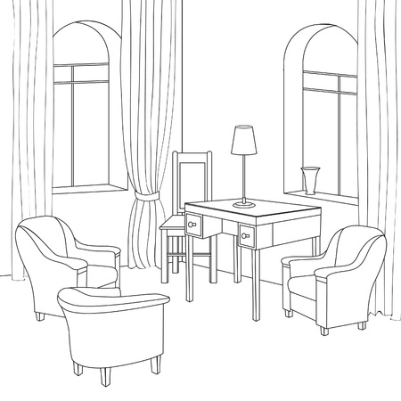 stools: Editable vector illustration of an outline sketch of a interior  Graphical hand drawing interior  Cabinet