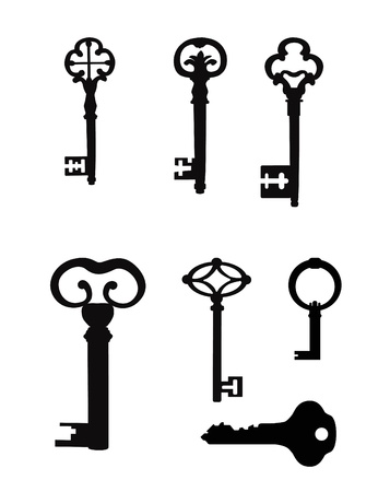 passkey:  Set of keys  Vector Silhouettes