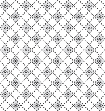 Abstract Geometric Retro Texture  Seamless pattern  Floral lightning ornament  Black and white flower background Stock Vector - 20961564