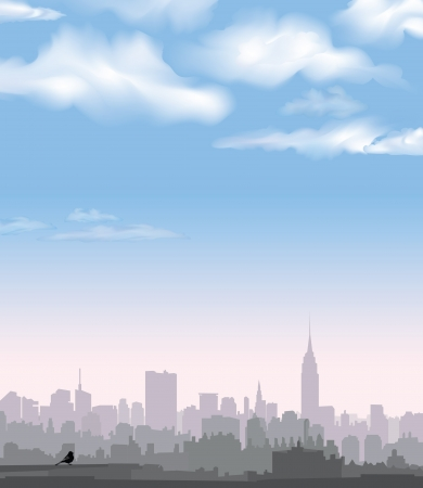 empire state building: New York Skyline  Vector USA landscape  Cityscape in the early morning  Manhattan Skyline with Empire State Building