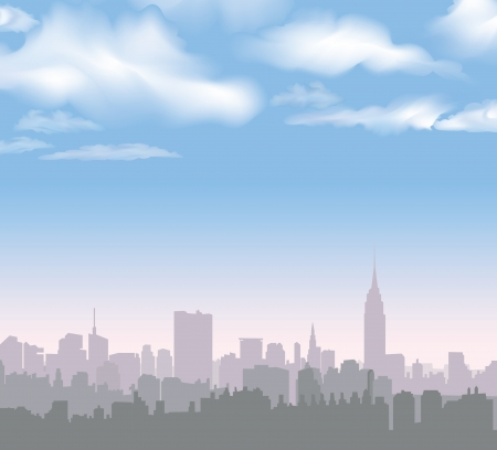 New York Skyline  Vector USA landscape  Cityscape in the early morning  Manhattan Skyline with Empire State Building