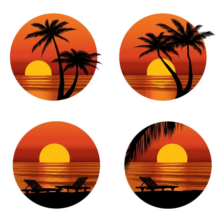 scenery set: Sunset view at resort  Relaxing in the evening on beach with palm tree  Vector icons set   Illustration