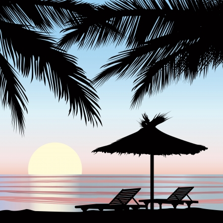 marine scene: Sunrise view at resort  Relaxing holiday on beach with palm tree  Illustration