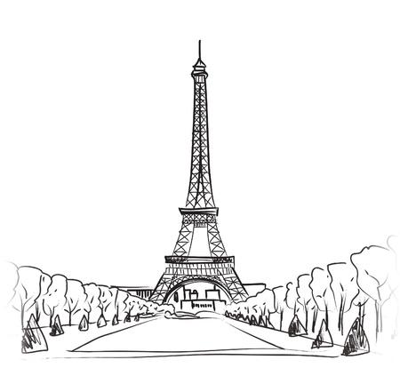 central park: Par�s, la torre Eiffel de Par�s s�mbolo dibujado a mano hito ilustraci�n vectorial Vectores