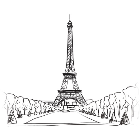 Paris eiffel tower  Paris symbol hand drawn landmark  Vector illustration