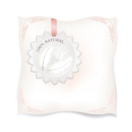 mujer acostada en cama: Aislado almohada blanco natural por etiqueta natural producto de etiqueta Pluma ilustraci�n vectorial Vectores