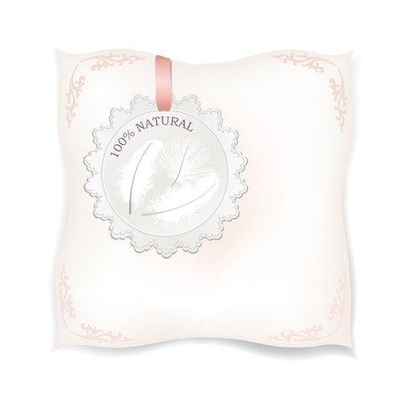woman laying down: White pillow isolated  Natural down label  Natural product label  Feather Vector illustration   Illustration