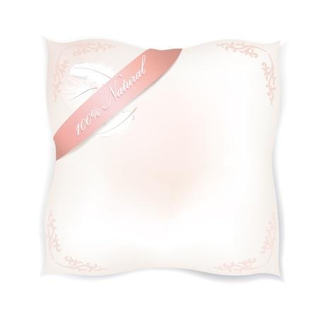 mujer acostada en cama: Aislado almohada blanco natural producto de etiqueta pluma ilustraci�n vectorial