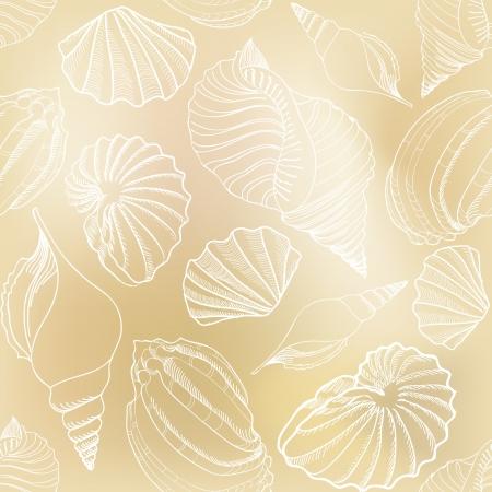 invertebrates: Sea shell seamless pattern  Sand beach seamless holiday background