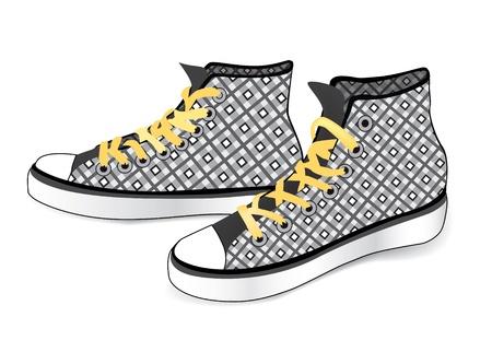 chaussure sport: Sneakers vente li�e chaussure de sport de damier de tissu isol� sur fond blanc