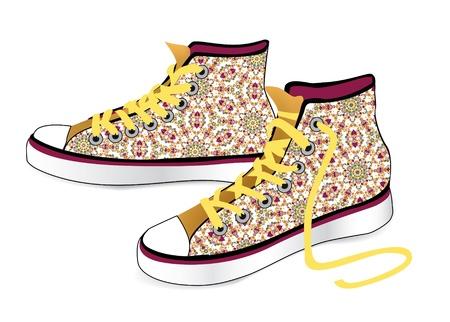 chaussure sport: Sneakers attachant des chaussures de sport de mod�le de tissu � carreaux isol� sur fond blanc Illustration