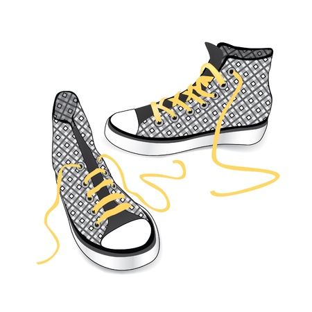 outworn: Sneakers  Tying sports shoe from checkered fabric pattern isolated over white background  Illustration