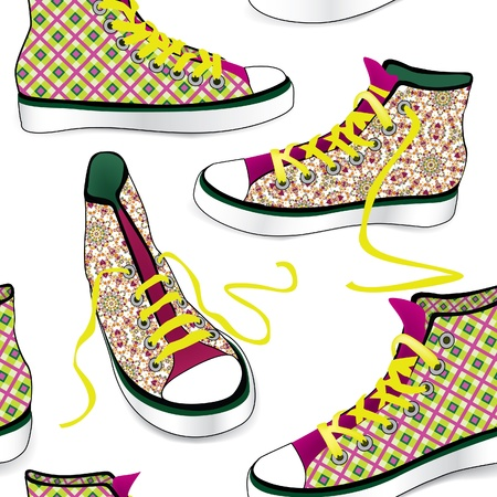 Sneakers  Tying sports shoe from checkered fabric seamless pattern   Vector