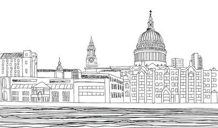 St Paul s Cathedral  London landscape with River Thames, England UK   Hand drawn pencil vector illustration
