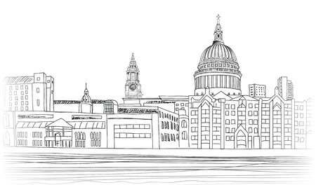 st pauls: St Paul s Cathedral  London landscape with River Thames, England UK   Hand drawn pencil vector illustration