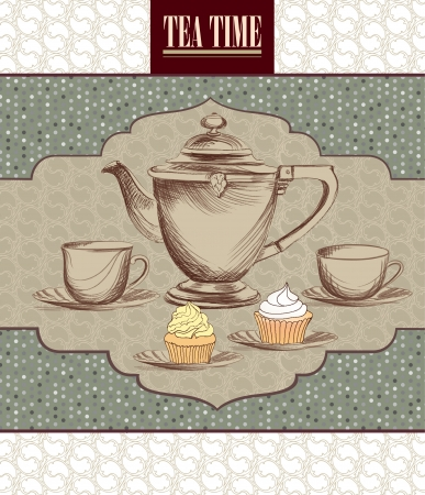 Tea time retro label  Tea cup and pot label in vintage style   Stock Vector - 20912622
