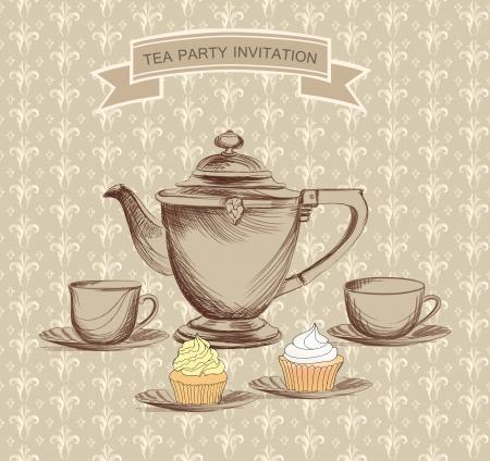 ink pot: Tea time retro etiqueta taza de t� y la etiqueta de olla en el estilo vintage