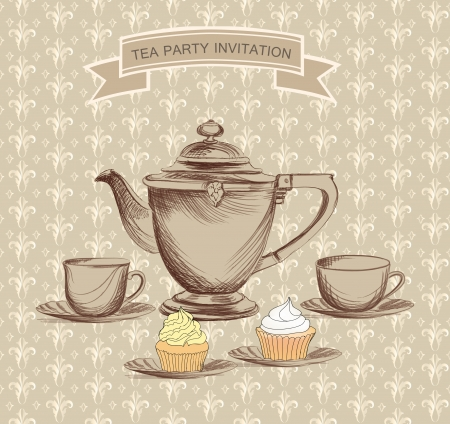 dibujo vintage: Tea time retro etiqueta taza de t� y la etiqueta de olla en el estilo vintage