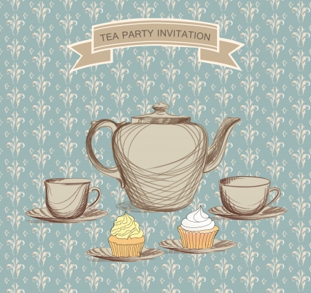 chinese tea pot: Tea time retro label  Tea cup and pot label in vintage style