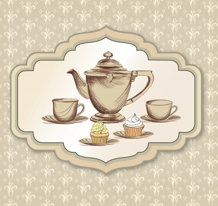 Tea time retro label  Tea cup and pot label in vintage style   Vector