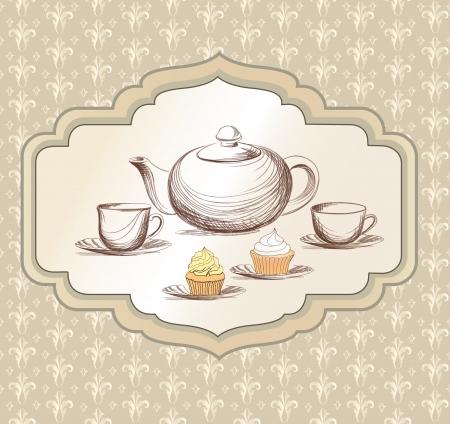 cartoline vittoriane: Tea time retro etichetta Tazza di t� e di etichetta pentola in stile vintage