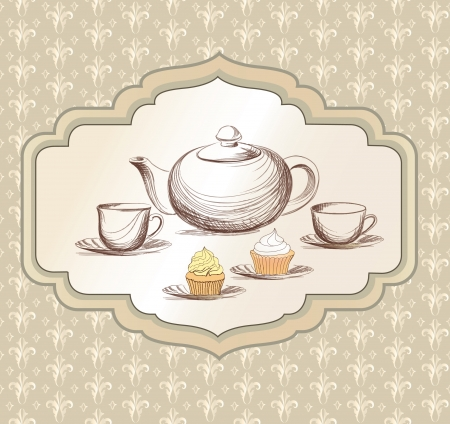 chinese tea: Tea time retro label  Tea cup and pot label in vintage style