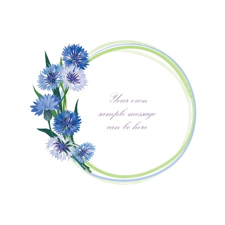 Flower frame  Floral border  Bouquet cornflower isolated   Vector