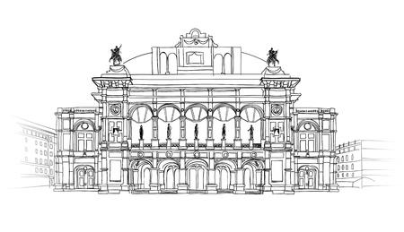 wiedeń: Vienna State Opera House, Austria Theater Wiener Staatsoper Vector Ilustracja rysowane ręcznie Szkicowanie