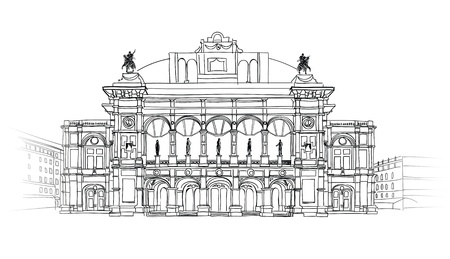 Vienna State Opera House, Austria Theater Wiener Staatsoper Vector Hand-drawn Sketching Illustration