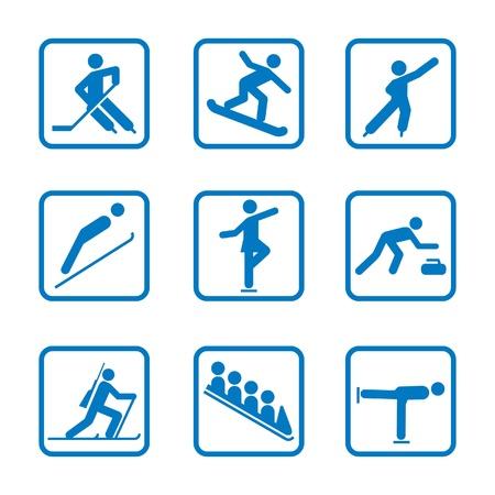 冬のスポーツのアイコンを設定  イラスト・ベクター素材