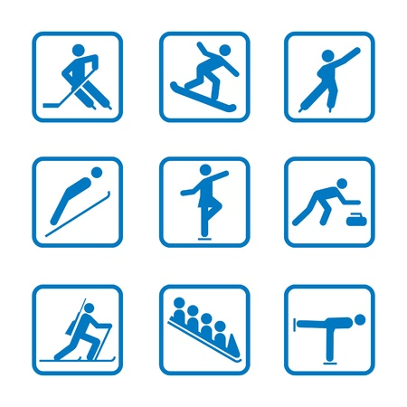 Set van wintersport iconen Stock Illustratie