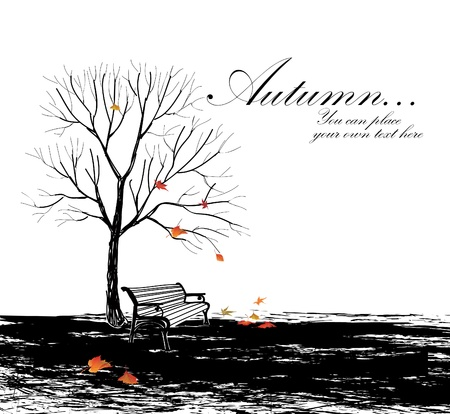 Autumn background with bench and tree  hand drawing vector illustration with copy space