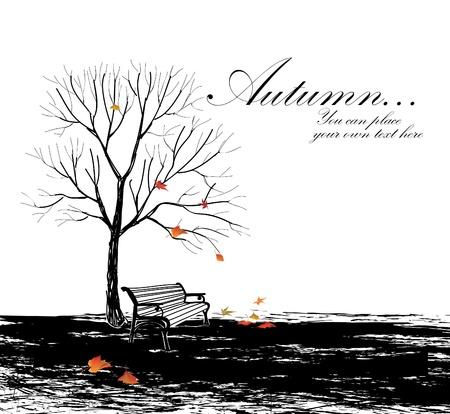 kale: Herfst achtergrond met bank en boom hand tekening vector illustratie met kopie ruimte Stock Illustratie