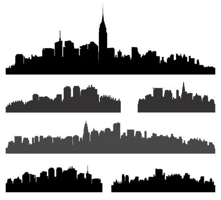 City silhouette vector set  Panorama city background  Skyline urban border collection   Ilustracja