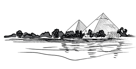 cairo: Egyptian Pyramids landscape  Pencil hand drawn vector illustration   Illustration