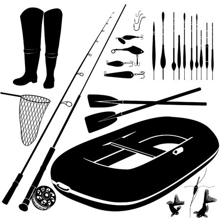fishing silhouette: Fishing icon set  Fishing trip equipment vector silhouette collection isolated on white background