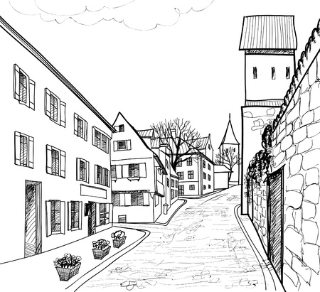 Pedestrian street in the old european city with tower on the background  Historic city street  Hand drawn sketch  Vector illustration   Vector