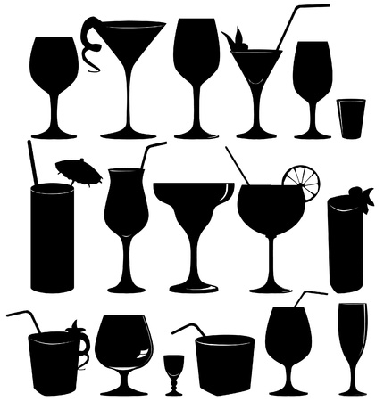 アイコン セットのガラス コレクションを飲む - ベクトル シルエット カクテル パーティーのアイコンを設定  イラスト・ベクター素材