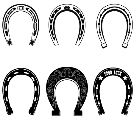 old cowboy: Horse shoe Set  Lucky steel horseshoes vector set isolated on white background