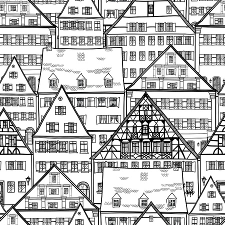 abstract city: Houses seamless pattern  Old town cityscape seamless background  Building hand drawn vector illustration