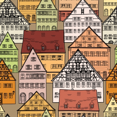 Houses seamless pattern  Old town cityscape seamless background  Building hand drawn vector illustration Stock Vector - 21604138