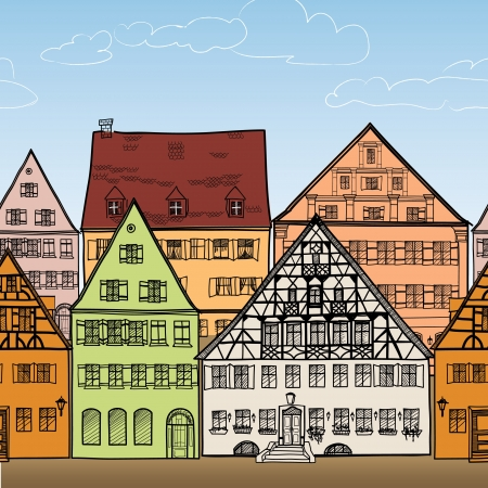 Houses seamless border  Old town cityscape  Ancient building frame  Doodled city  Hand drawn vector illustration   Vector
