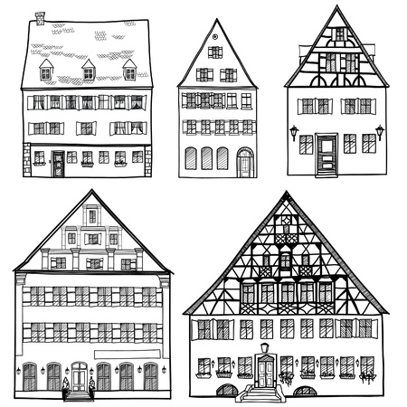 House Building icons Set of hand drawn houses, doodled city, town doodles set